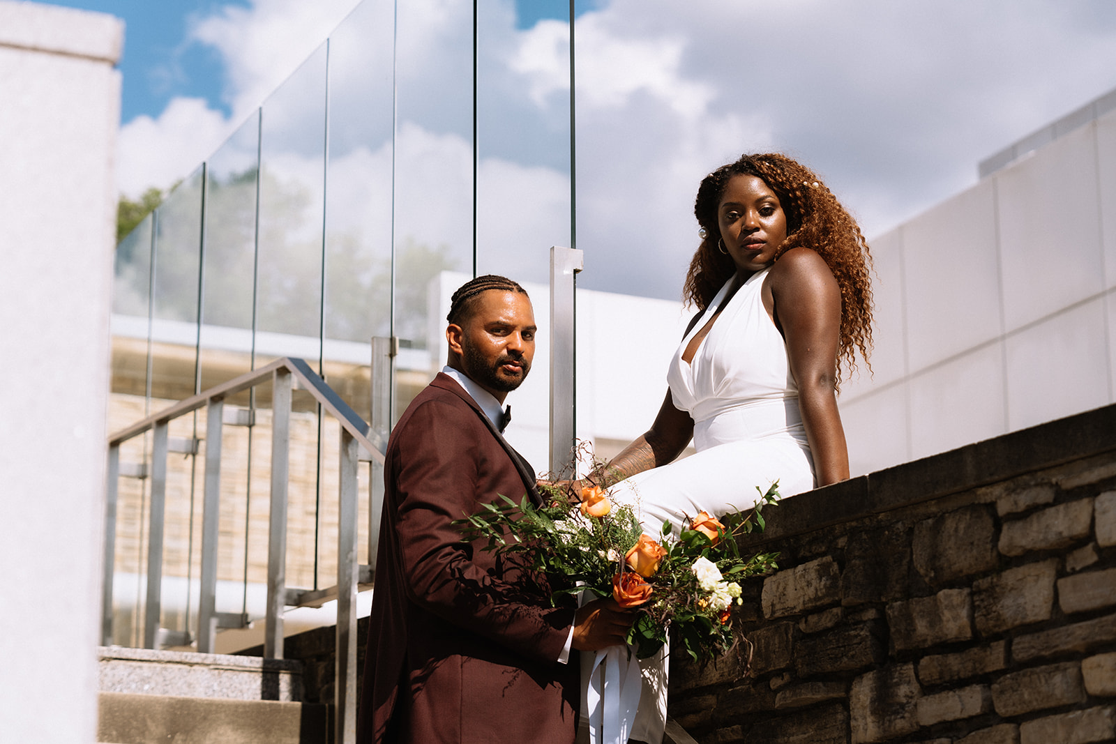 urban couple elopement downtown with city skyline